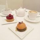 Tea for Two : Blood Orange Matcha Crust Tart and Raspberry Praline Tart with mint tea and cappuccino.