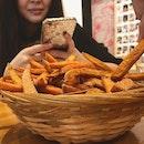 Damn good sweet potato fries with my favourites.