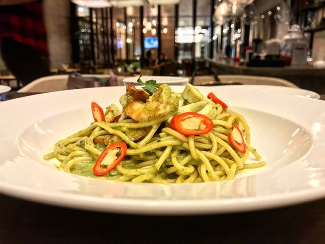Green curry pasta 🍝 is my top favourite among all dishes I had @ Raintree MY, level 2 Menara CIMB KL Sentral.