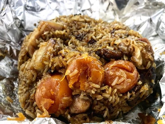 """""""8 Treasures Rice"""" = 8 salted egg yolks, along with pork, mushroom and dried oyster."""