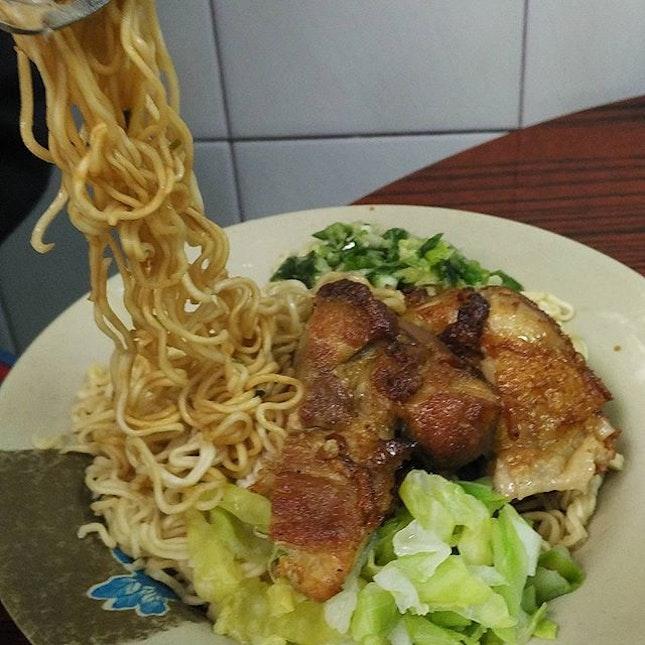 The signature chicken chop instant noodles.
