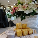 Having lovely overpriced air fried toast cubes with taro kaya as post meal dessert.