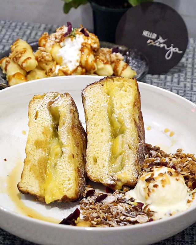 Kaya Toast ($16) Brioche French toast stuffed with mochi cheese & homemade kaya, alongside sea salt mascarpone ice cream, gula melaka & crumbles.