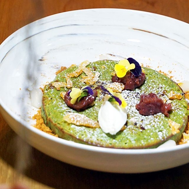 Marvellous Matcha ($16) Matcha hotcake, homemade dango, yuzu peel, ricotta cheese crumble & azuki beans.