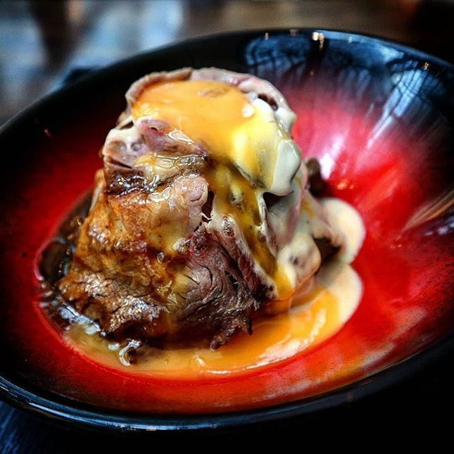 My flaming hokkaido beef rice bowl.