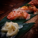 Uoshin Aburi Salmon (5 pieces) 🔸🔸 Every piece had their own topping namely mentaiko, ginger, mayo, sweet sauce and pepper.