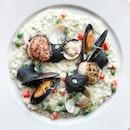 (MEDIA INVITE) Acquerello risotto with vongole, mussels and hokkaido scallops.