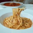 Creamy tomato linguine with chunky fresh crabmeat.