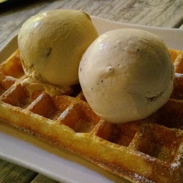 Waffle Dessert With Ice-Cream
