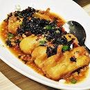 Golden Egg Tofu, Olive Leaves, Mapo Sauce (SGD $16.20) @ Xi Yan.