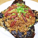Fried Rice With Waxed Meats Wrapped In Lotus Leaf (SGD $38) @ Famous Kitchen.