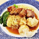 Bamboo Noodles Dry With Barbecue Honey Pork Belly & Shrimp Wanton (SGD $14.80) @ Shang Social.