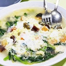 3-Flavour Eggs With Chinese Spinach (SGD $9) @ Hong Kong Chef's Kitchen.