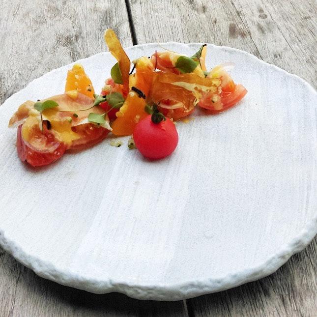 Salad of vine-ripened tomatoes $17.