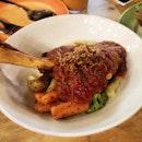Mediterranean Lamb Shank $13.90 at #ariasutd  Beautiful tender lamb shank with mash potatoes and mixed vegetables.