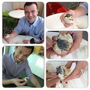 """Yesterday's challenge for my colleagues was a success! I brought six """"balut"""" (duck embryo) all the way from Manila and asked them to try and eat it. They had mixed feelings but in the end, they've accepted the challenge. The two ladies (German and Thailander) begged not to be photographed though they've eaten the balut and finished it. The two guys on the pic are from UK and Singapore. The two remaining baluts are for my friends from France and Luxumbourg. 😂😂😂"""