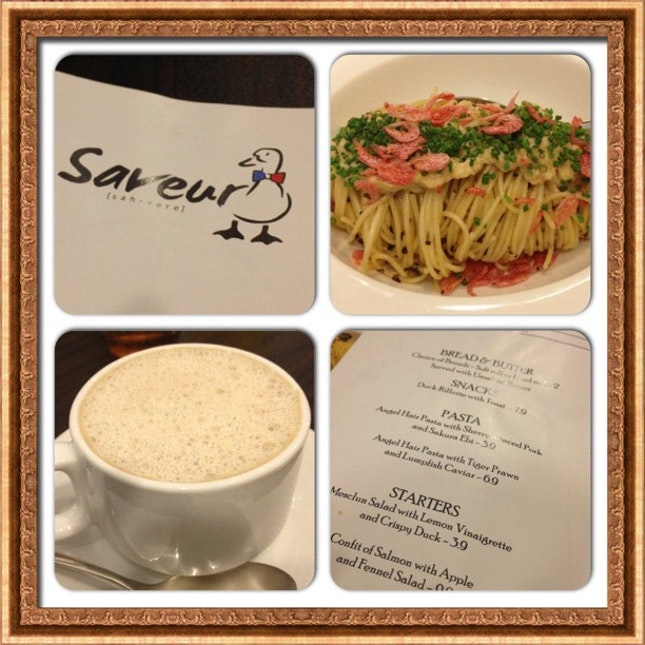 Angelhair pasta and mushroom cappuccino at Saveur! Cheap and good! #burpple