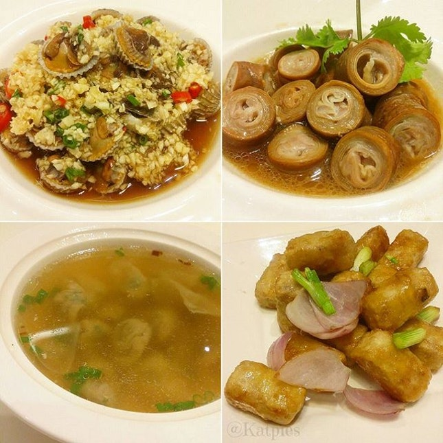 """Drunken Cockles, Braised Pig Intestine, PUTIEN Style """"Bian Rou"""" Soup with Vinegar (complimentary) and Stir-Fried Yam."""