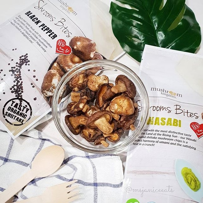 🍄 [NEW] Shrooms Bites by Mushroom Kingdom 🍄  These wholesome chips are made using selected organic shiitake mushrooms that are grown without the use of pesticides and chemical fertilisers.