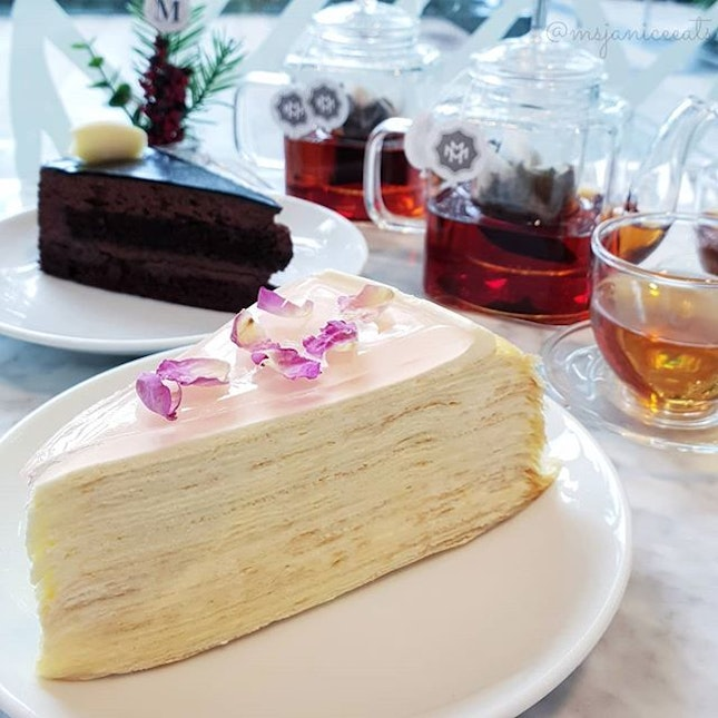 ⭐ Lady M ~ Rose Mille Crêpes, Couronne du Chocolat and Tea By Monogram ⭐  A balanced diet is having a piece of cake in each hand.  This is why I am having two slices.
