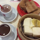 Sunday Breakfast with Kaya toast and steamed bread plus milo and coffee.
