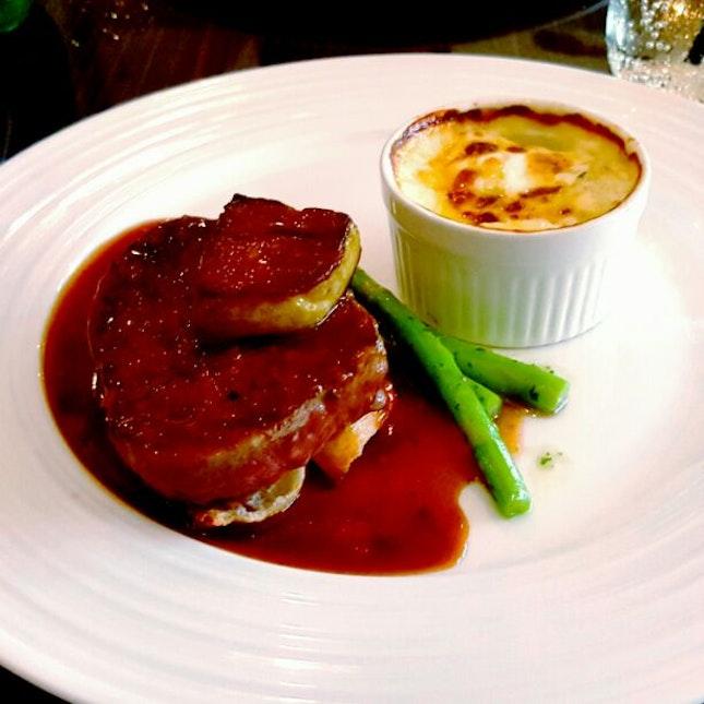 Beef Tenderloin With Pan Fried Foie Gras & Truffle Sauce