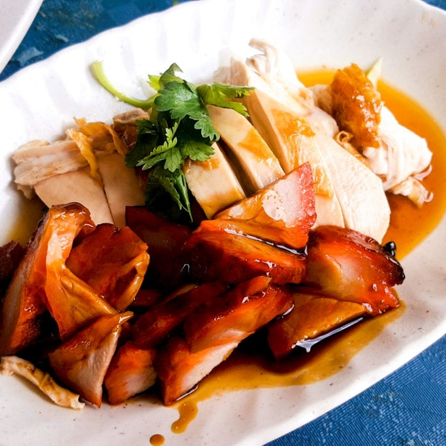 Roasted Chicken Rice With Char Siew ($4.50)