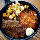 Signature Rosti with Flat Iron Steak and Oven Roasted Potatoes ($18.90)