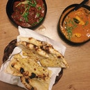 Fish Curry, Mutton Curry, And Naan