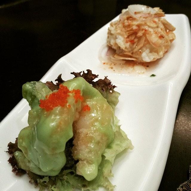 Wasabi and almond prawn #熊美食 #burpple