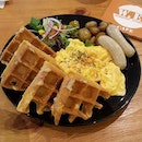 Waffles with Scrambled Eggs; The waffles here are so good and I love the scrambled eggs.