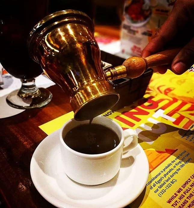 Coffee is an essential part of Egyptian dining experience  Premium Egyptian Coffee (w/o milk)- RM7  #tgif #tutsegyptianeatery #egyptiancoffee #premiumcoffee #burpple #burpplekl #chefrecommendation #coffeeaddict #coffeelover