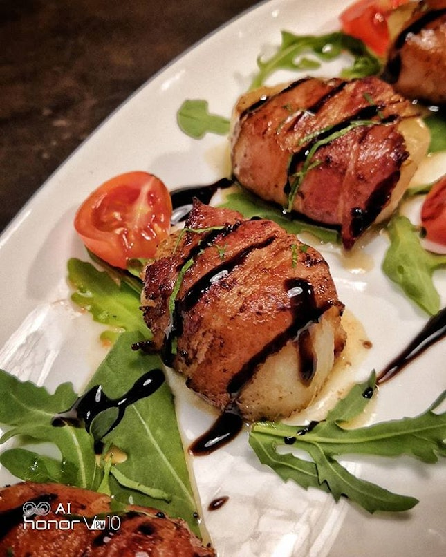 Grilled Scallop wrapped with Pancetta Ham.