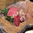 5 Kinds of Seasonal Sashimi 1⃣Blue Fin Tuna ( Akami ), 2⃣Medium Fatty Tuna ( Chutoro ), 3⃣Three Line Grunt ( Isaki ), 4⃣Striped Beakfish ( Ishidai ), 5⃣Bafun and Murasaki Uni.