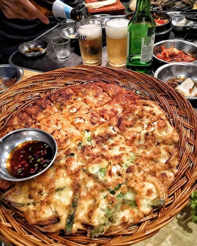 @wangdaebakbbq Seafood and Kimchi Pancake.