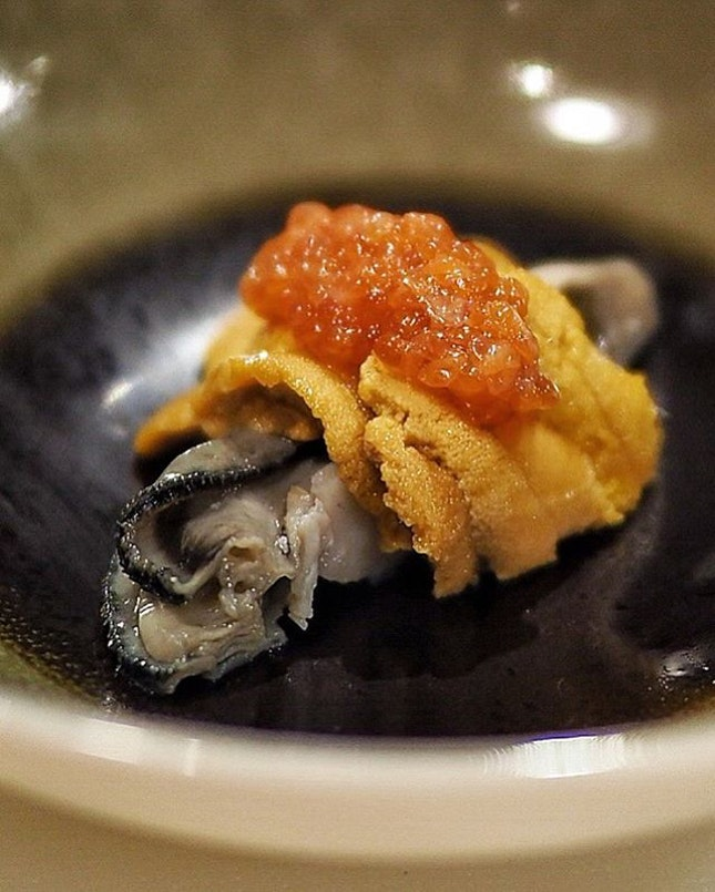 Oyster, Uni and Ikura @castironsg Omakase Menu starts from $120++ per pax.