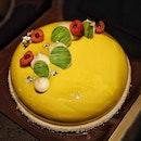 Mango Mousse Cake from @fullertonhotel .