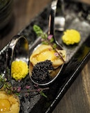 Uni & Caviar with Quail Egg ($23), from the latest exquisite menu featuring the Uni, Milt & Roe collection.