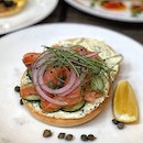 Fresh Bagel with Smoked Salmon $16++ Fresh bakes, generous smear of velvety cream cheese, smoked salmon slices.