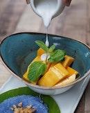 Mango & Blue Jasmine Sticky Rice ($14.00) from @bluejasmine.sg.