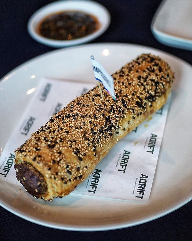 The Impossible Sausage Roll ($14++) @adriftbydavidmyers The juicy plant-based sausage, spiced with fennel, nutmeg, garlic and onion, is encased in a layer of French puff pastry and baked to golden perfection.