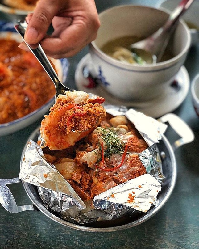 Seafood Stirfry in OTAH paste ($18.80) @enjoyeatinghouse may or may not have just physically manifested a seafood treasure.