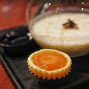 "Pineapple Sago Cream served with Warm Yam ""Nian Gao"" Tart."