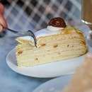 @ladymsg Marron Mille Crepes ($11.00++) Chestnut pastry cream between layers of handmade cream .