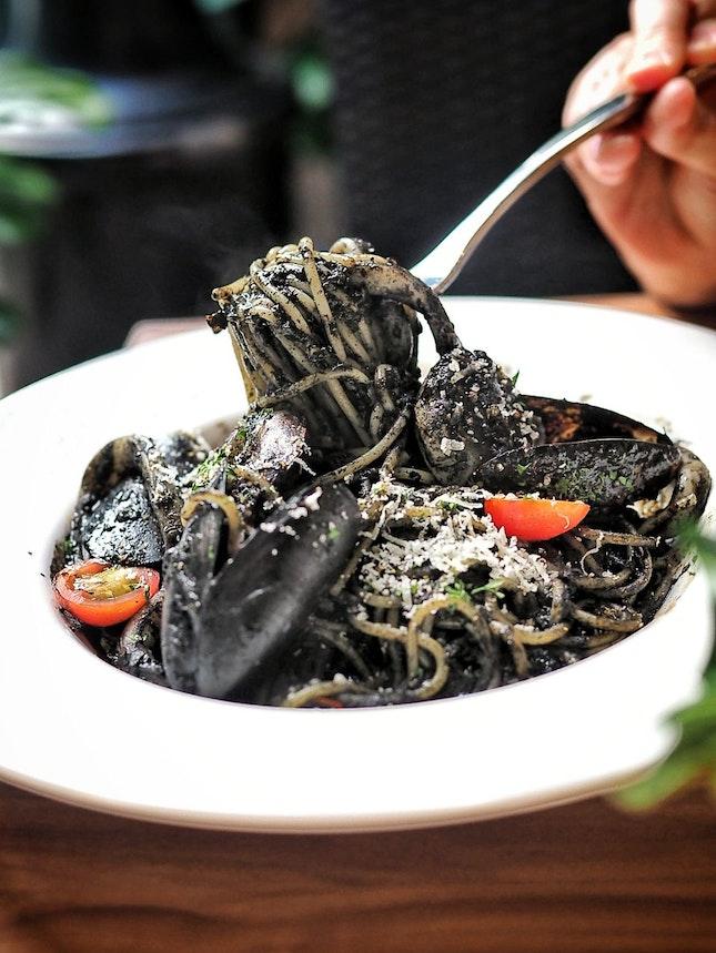 Squid Ink Seafood Spaghetti ($23.95)