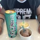 Arizona + mocha & peach sorbet ice cream