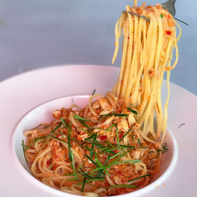 Chilli crab linguine [$10.50] Situated in a coffeeshop in Bedok neighbourhood, @the_pastaboutique serves up a range of pasta dishes at pocket-friendly prices, as well as other mains eg chicken chop, steaks etc.
