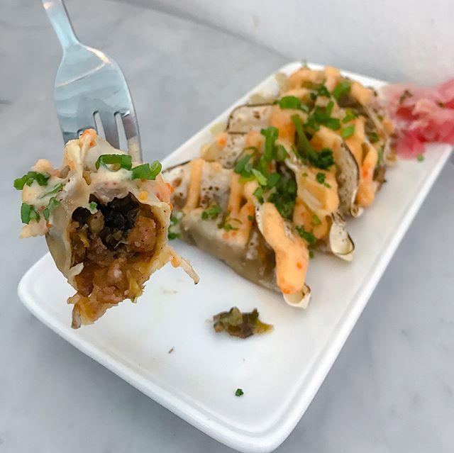"(Arigatou) ""Gyoza must"" [$13++] Unagi gyoza, pickled ginger served with drizzles of mentaiko mayo."