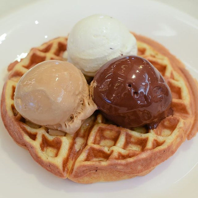 Waffles with triple scoop [$15] With your choice of gelato and sauce (chocolate, maple or butterscotch syrup), the waffles here are unfortunately a letdown, paling much in comparison to the gelato.