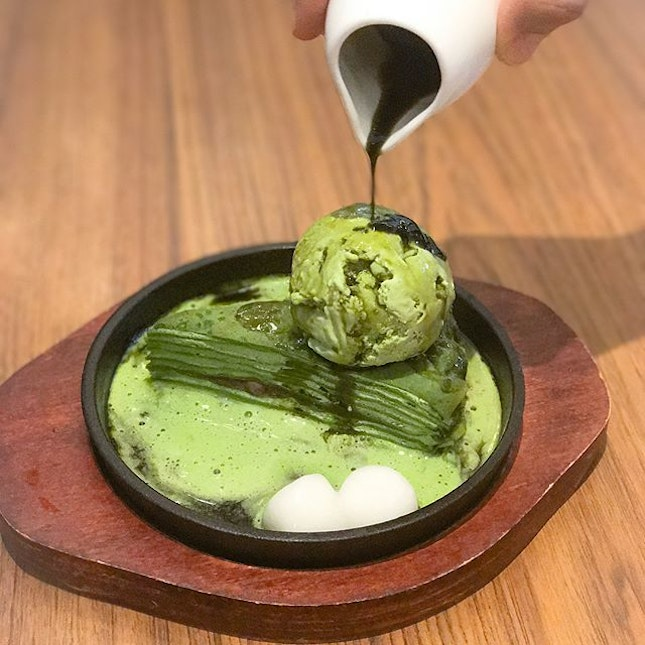 Sizzling matcha crepe [$12++] Matcha Mille crepe served on a sizzling pan, topped with matcha ice cream, shiratama and doused with matcha sauce!!